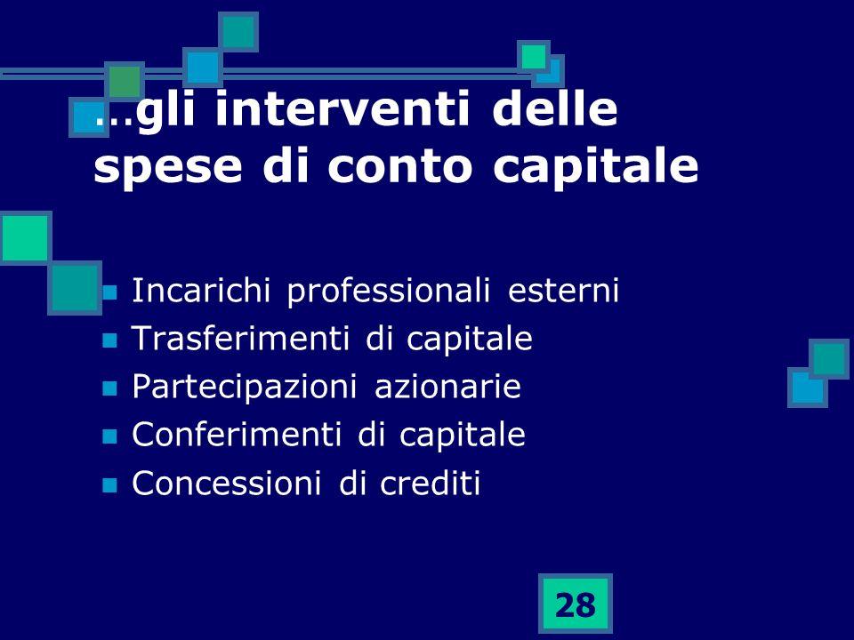 ...gli interventi delle spese di conto capitale