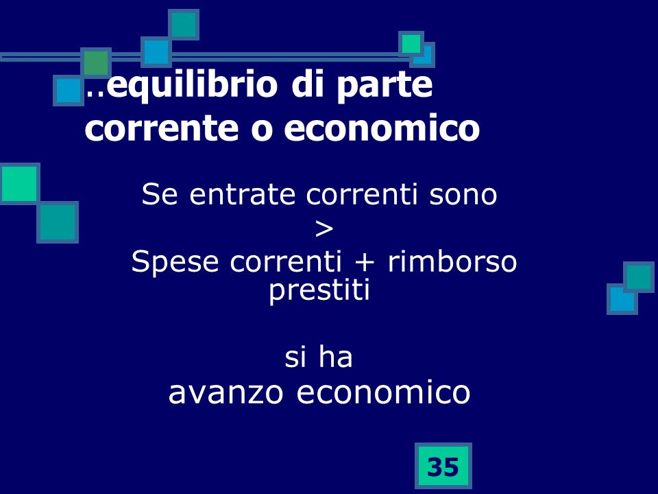 ..equilibrio di parte corrente o economico