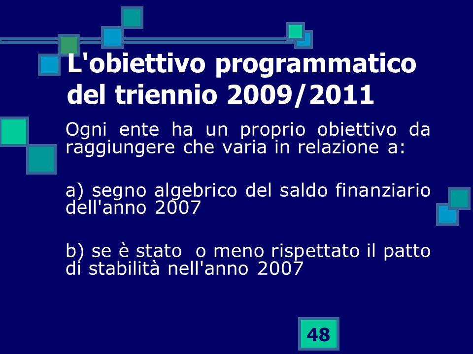 L obiettivo programmatico del triennio 2009/2011