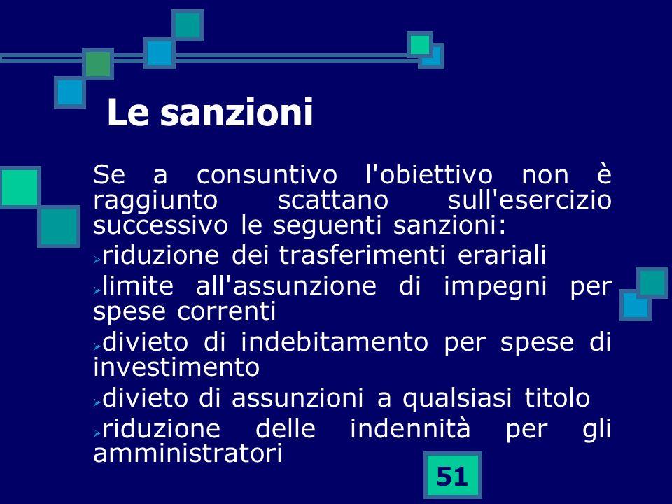 Le sanzioni Se a consuntivo l obiettivo non è raggiunto scattano sull esercizio successivo le seguenti sanzioni: