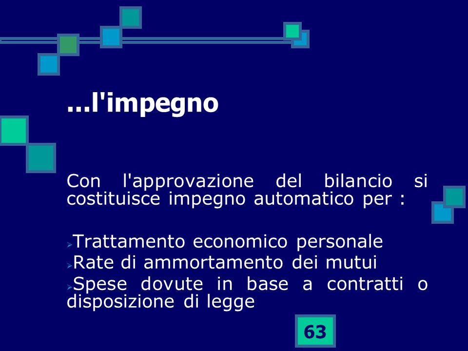 ...l impegno Con l approvazione del bilancio si costituisce impegno automatico per : Trattamento economico personale.
