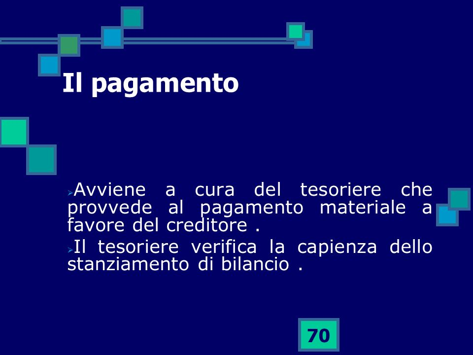 Il pagamento Avviene a cura del tesoriere che provvede al pagamento materiale a favore del creditore .