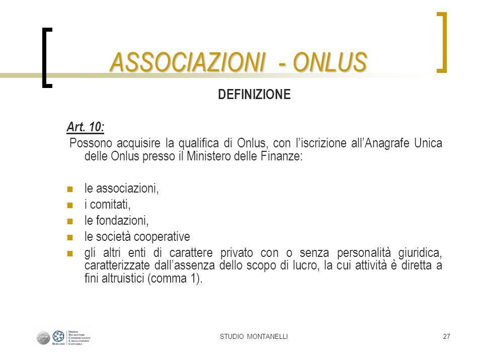 ASSOCIAZIONI - ONLUS DEFINIZIONE Art. 10: