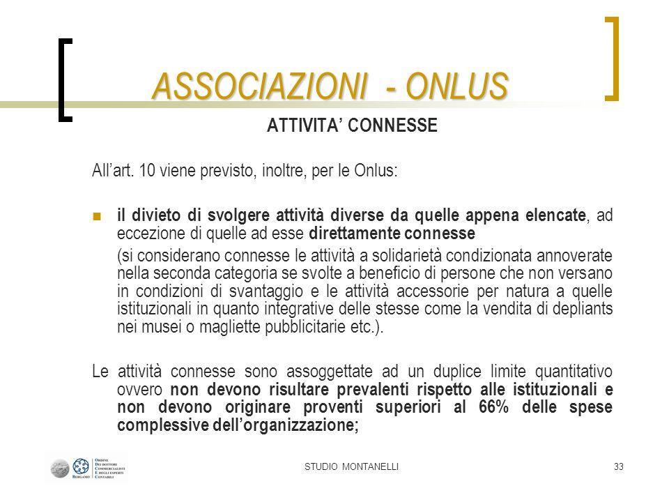 ASSOCIAZIONI - ONLUS ATTIVITA' CONNESSE