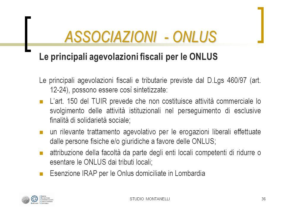 ASSOCIAZIONI - ONLUS Le principali agevolazioni fiscali per le ONLUS