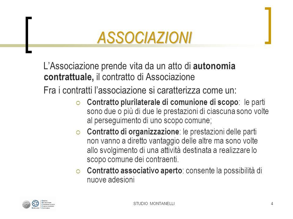 ASSOCIAZIONI L'Associazione prende vita da un atto di autonomia contrattuale, il contratto di Associazione.