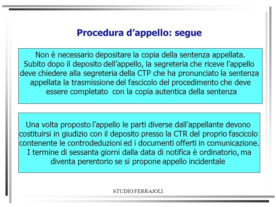 Procedura d'appello: segue