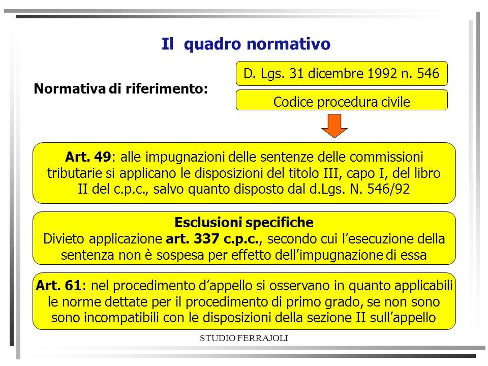 Il quadro normativo D. Lgs. 31 dicembre 1992 n. 546