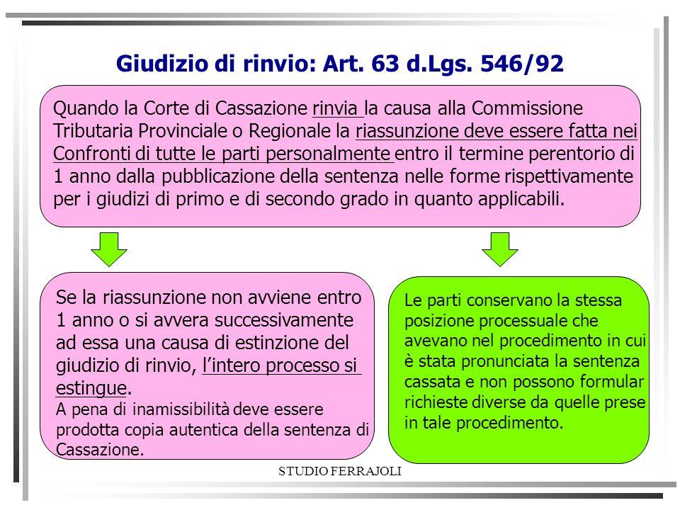 Giudizio di rinvio: Art. 63 d.Lgs. 546/92