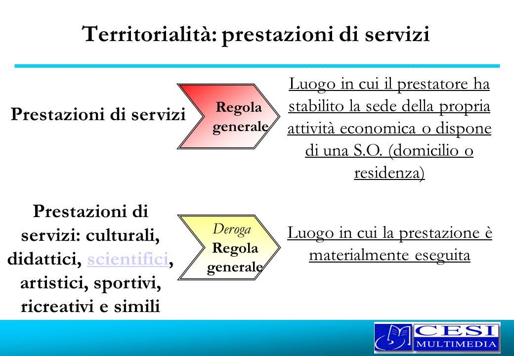 Territorialità: prestazioni di servizi