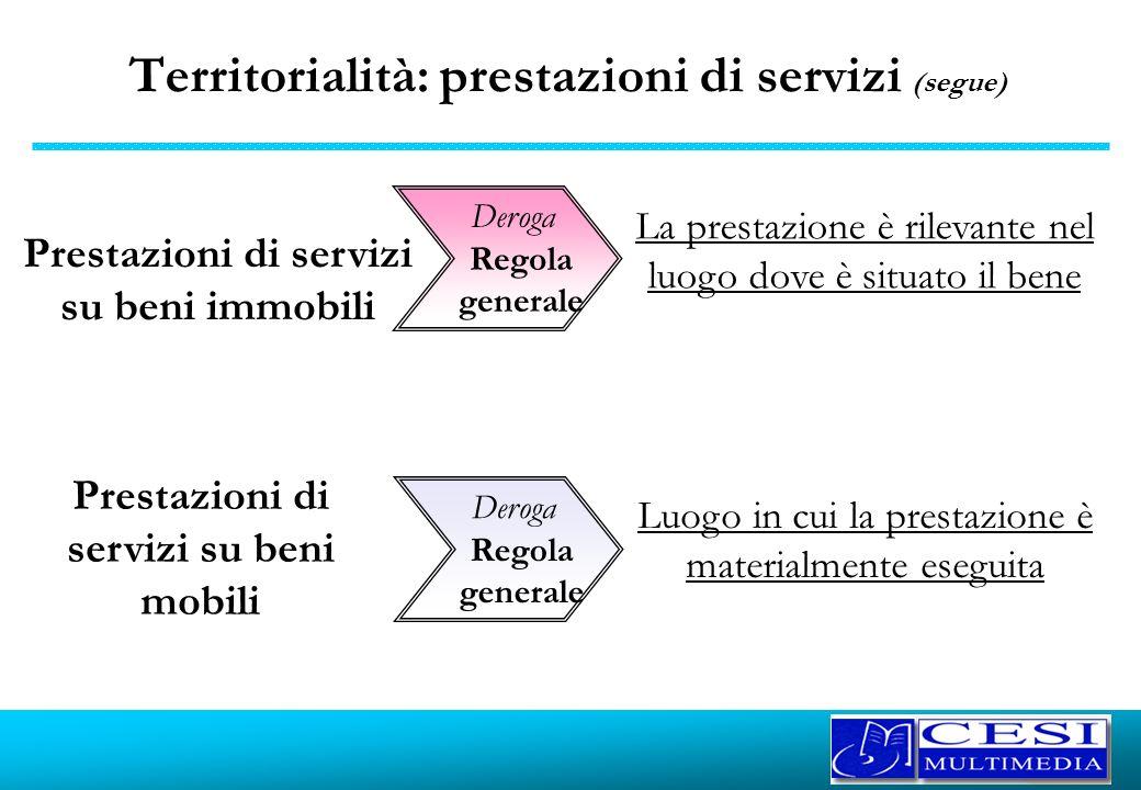 Territorialità: prestazioni di servizi (segue)