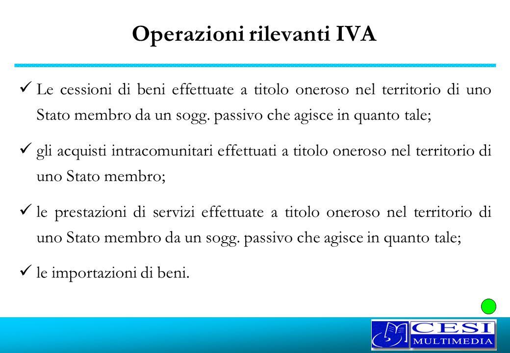 Operazioni rilevanti IVA