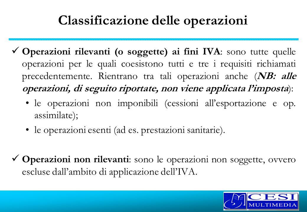 Classificazione delle operazioni