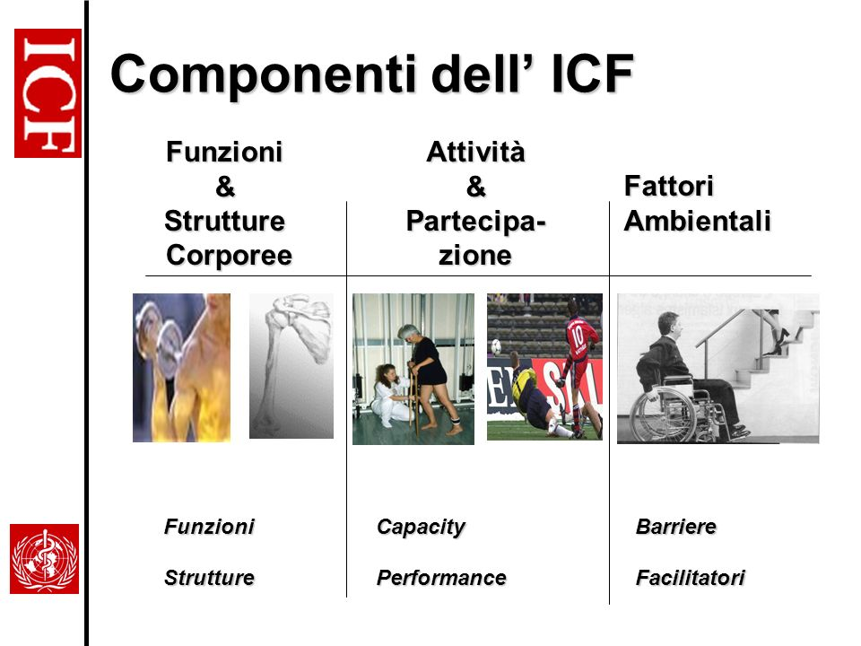 Componenti dell' ICF Funzioni & Strutture Corporee Attività &