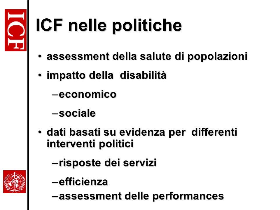 ICF nelle politiche assessment della salute di popolazioni