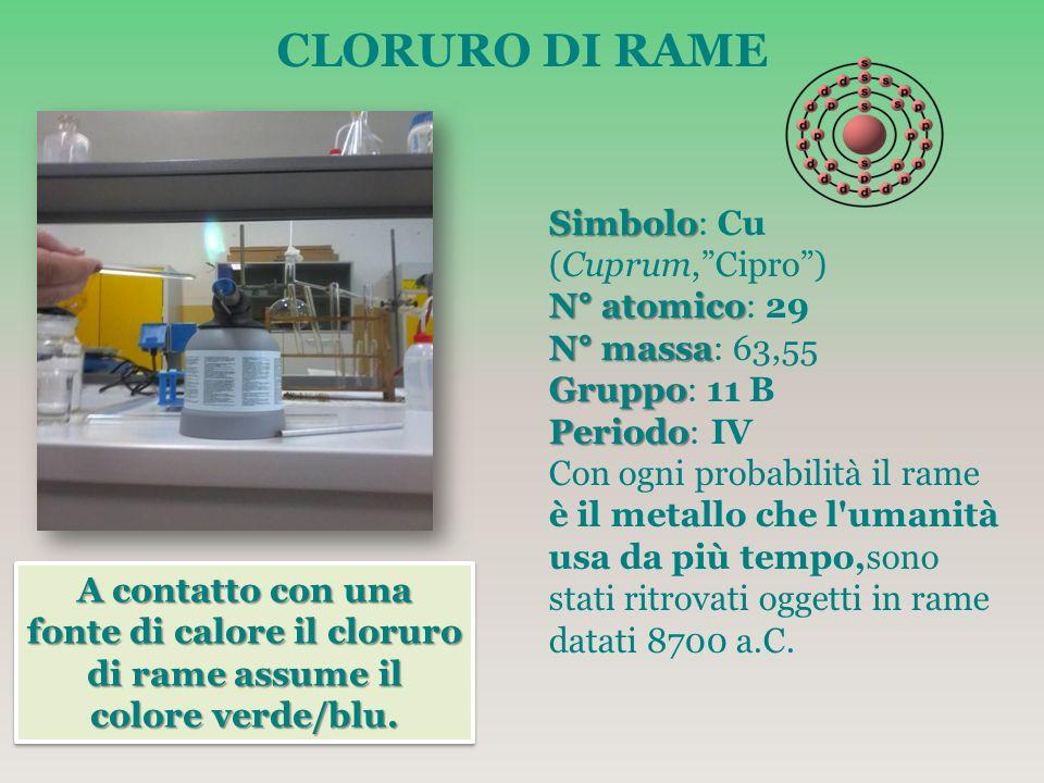 CLORURO DI RAME Simbolo: Cu (Cuprum, Cipro ) N° atomico: 29