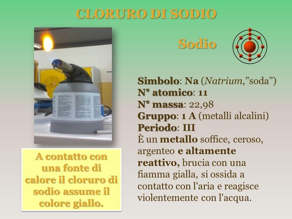 CLORURO DI SODIO Sodio Simbolo: Na (Natrium, soda ) N° atomico: 11