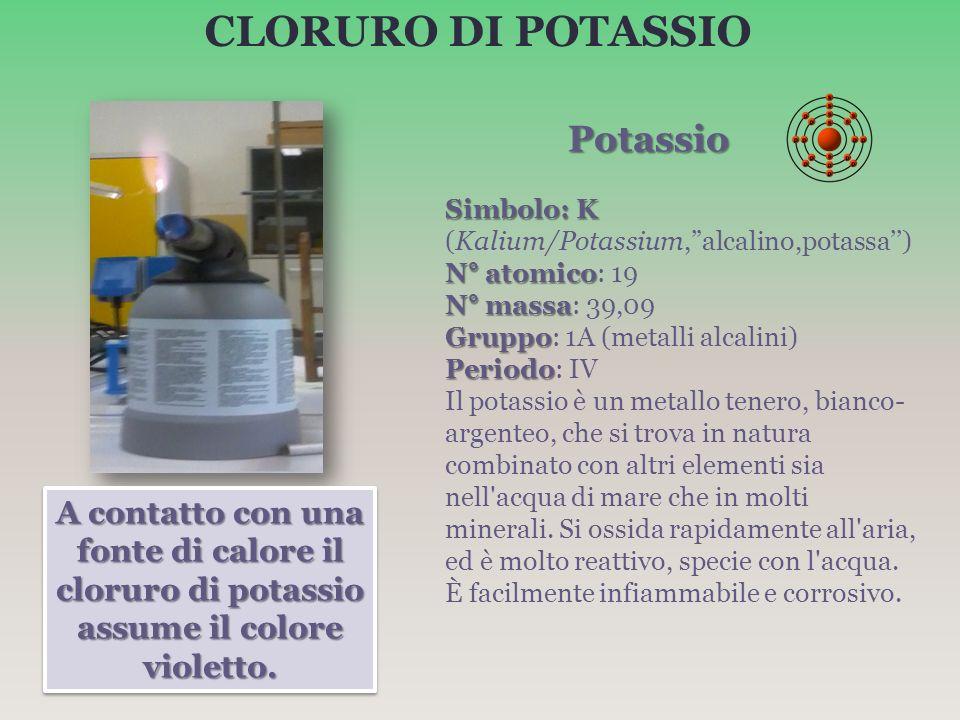 CLORURO DI POTASSIO Potassio. Simbolo: K (Kalium/Potassium, alcalino,potassa'') N° atomico: 19. N° massa: 39,09.