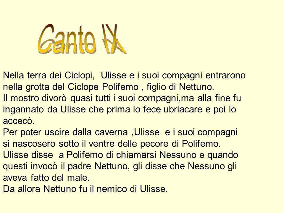 Canto IXNella terra dei Ciclopi, Ulisse e i suoi compagni entrarono nella grotta del Ciclope Polifemo , figlio di Nettuno.