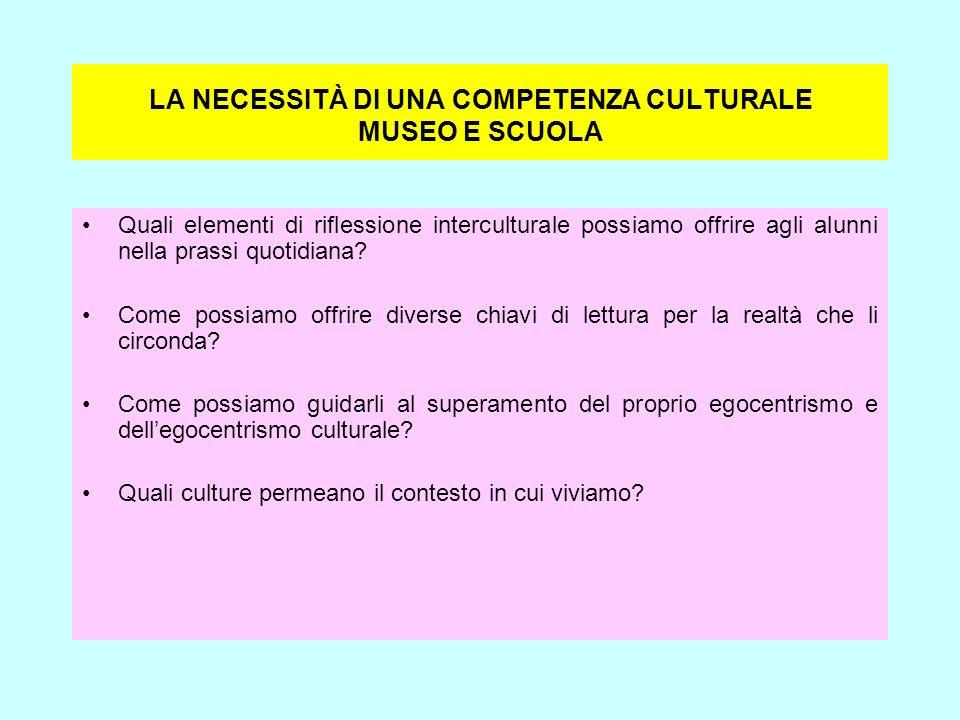 LA NECESSITÀ DI UNA COMPETENZA CULTURALE MUSEO E SCUOLA