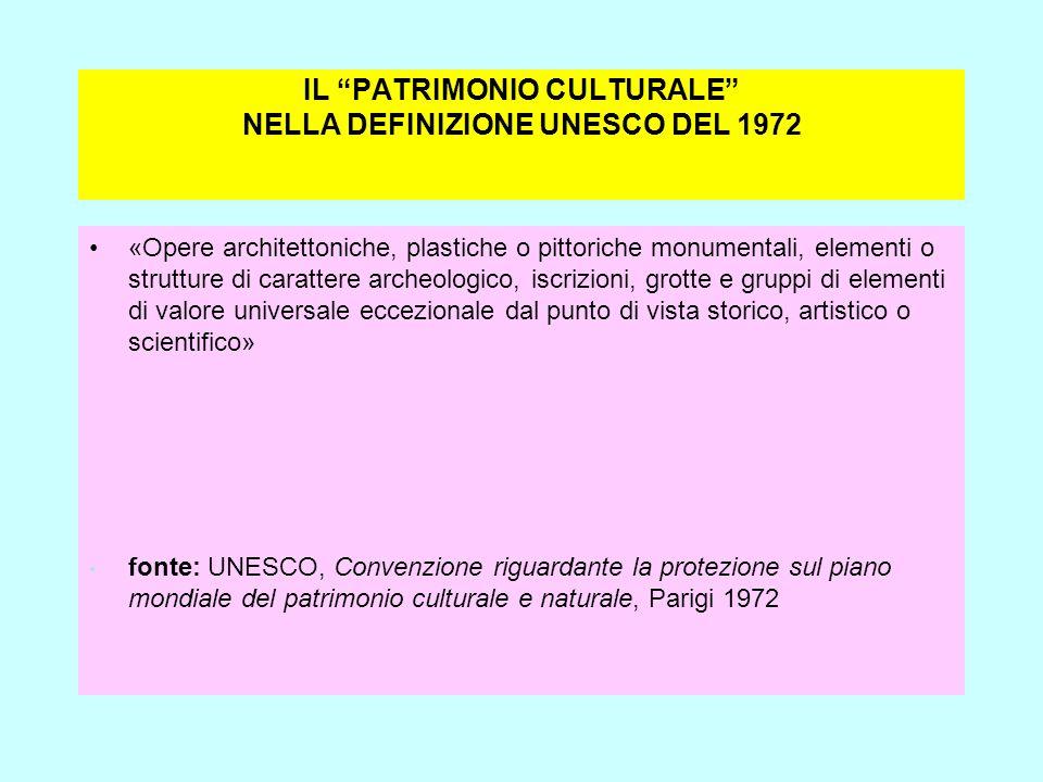 IL PATRIMONIO CULTURALE NELLA DEFINIZIONE UNESCO DEL 1972
