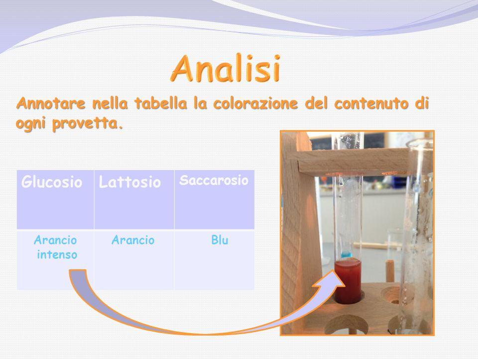 Analisi Annotare nella tabella la colorazione del contenuto di ogni provetta. Glucosio. Lattosio.