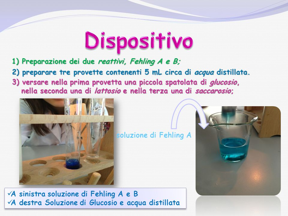 Dispositivo 1) Preparazione dei due reattivi, Fehling A e B;