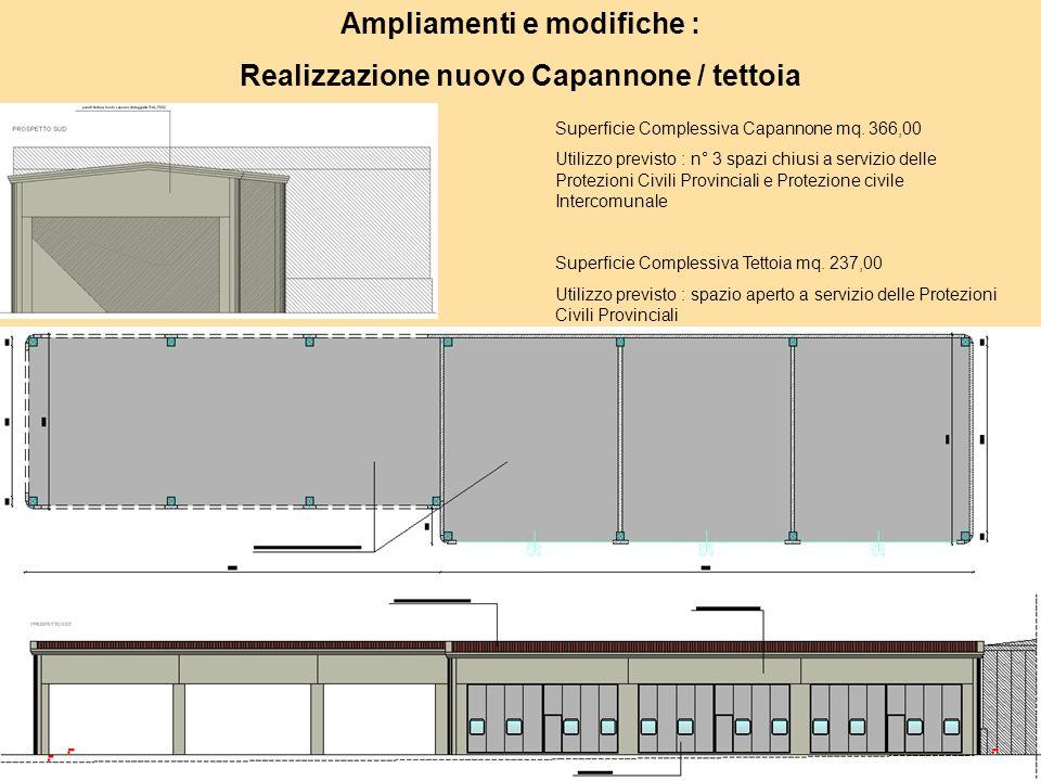 Ampliamenti e modifiche : Realizzazione nuovo Capannone / tettoia