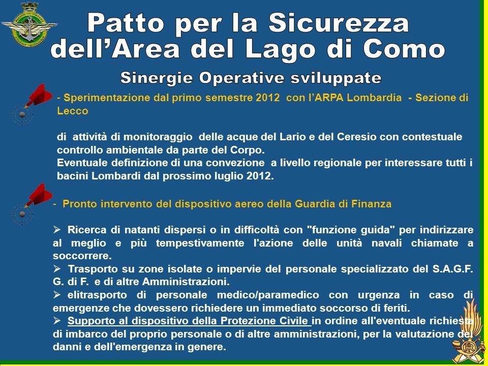 dell'Area del Lago di Como Sinergie Operative sviluppate