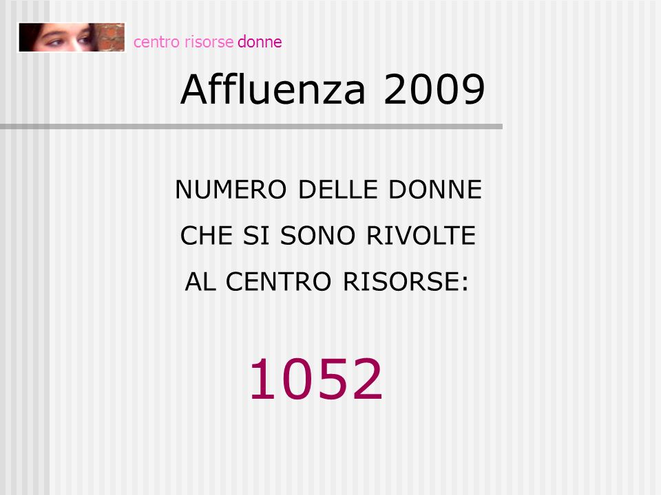 1052 Affluenza 2009 NUMERO DELLE DONNE CHE SI SONO RIVOLTE