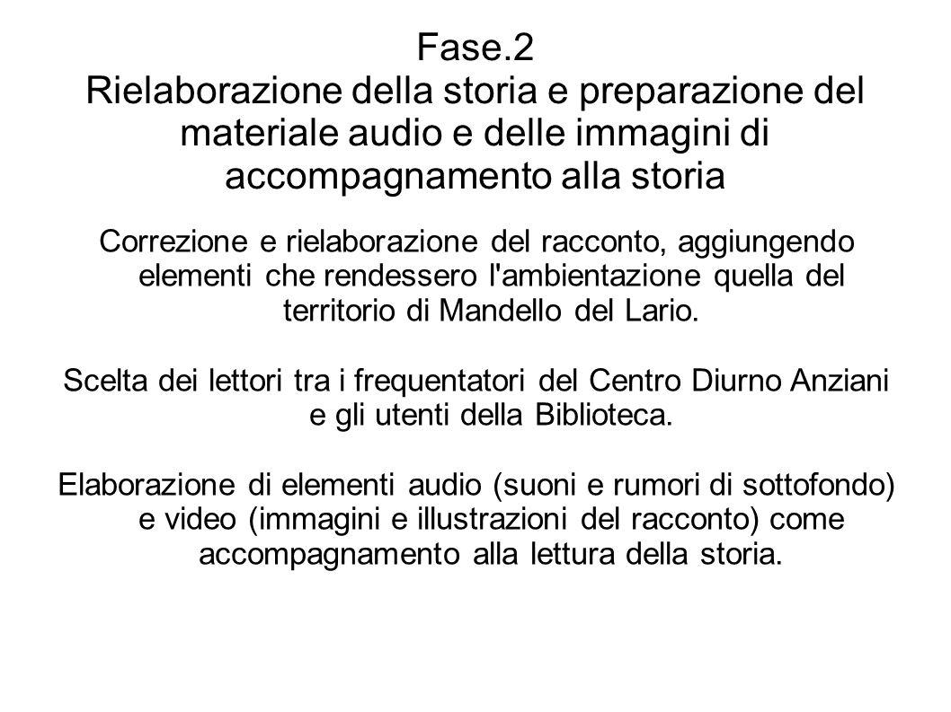 Fase.2 Rielaborazione della storia e preparazione del materiale audio e delle immagini di accompagnamento alla storia