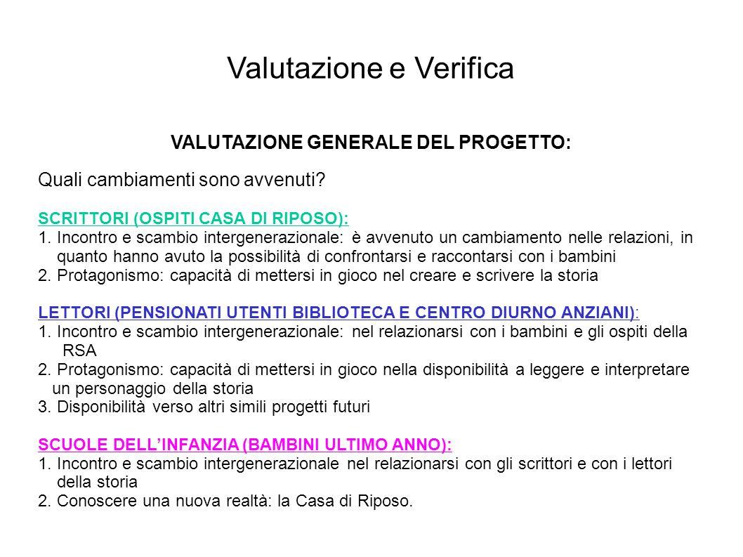 VALUTAZIONE GENERALE DEL PROGETTO: