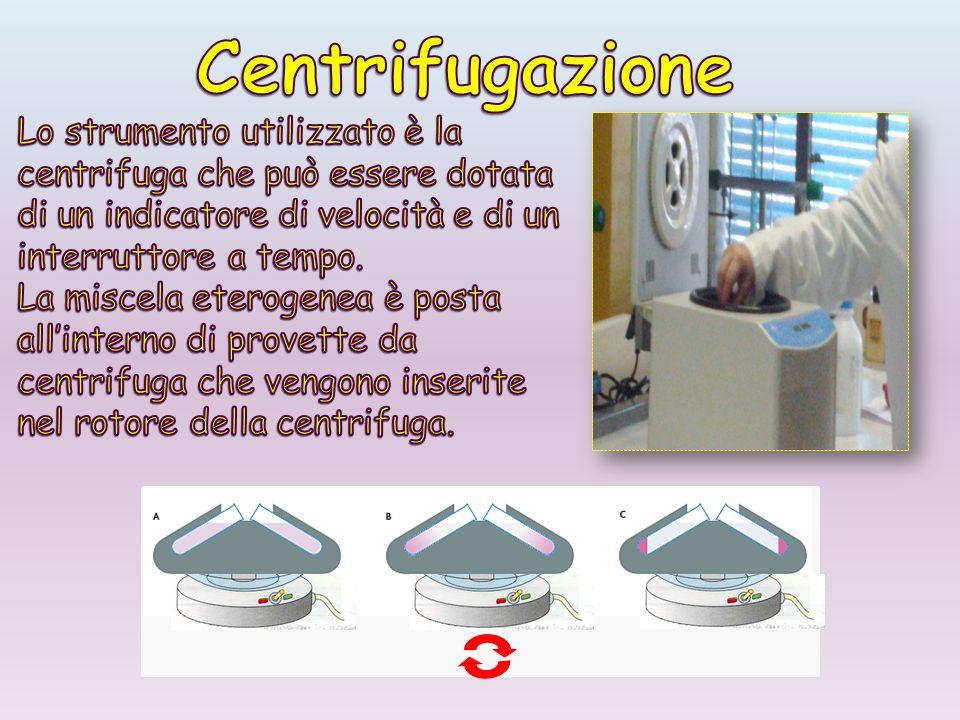 Centrifugazione Lo strumento utilizzato è la centrifuga che può essere dotata di un indicatore di velocità e di un interruttore a tempo.