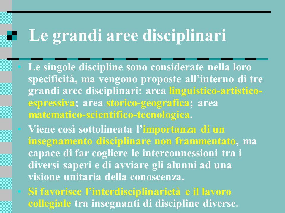 Le grandi aree disciplinari