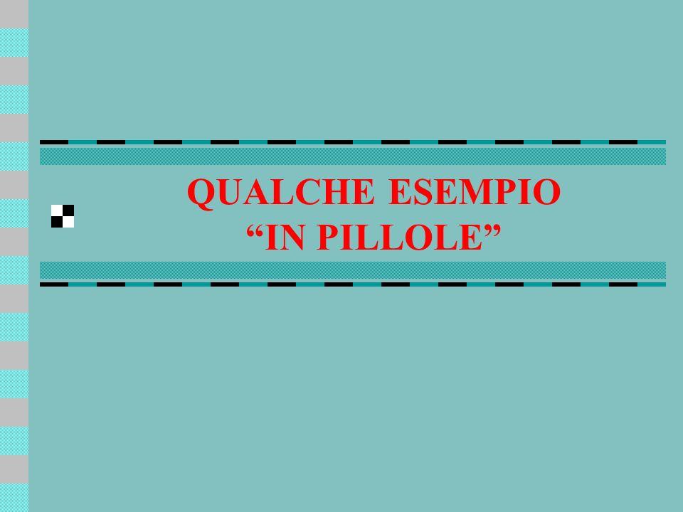 QUALCHE ESEMPIO IN PILLOLE