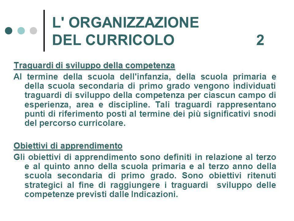L ORGANIZZAZIONE DEL CURRICOLO 2