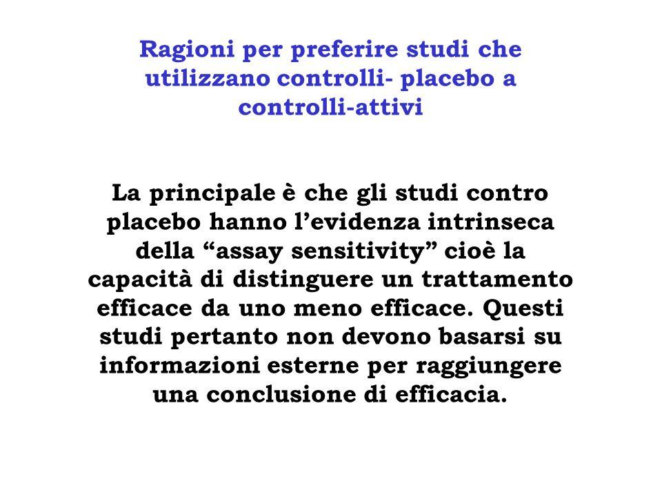 Ragioni per preferire studi che utilizzano controlli- placebo a controlli-attivi