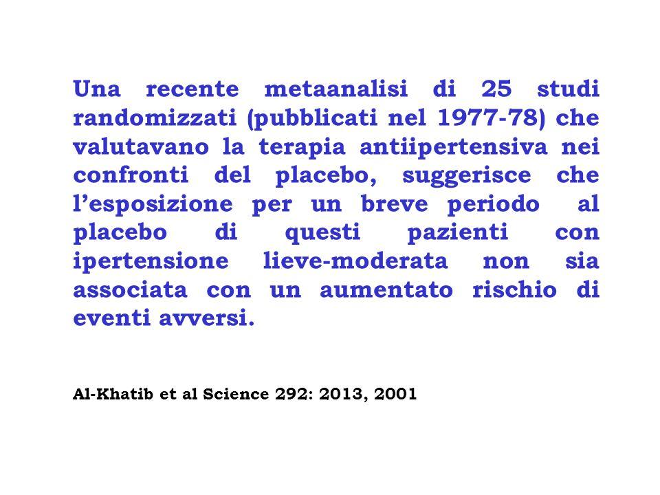Una recente metaanalisi di 25 studi randomizzati (pubblicati nel 1977-78) che valutavano la terapia antiipertensiva nei confronti del placebo, suggerisce che l'esposizione per un breve periodo al placebo di questi pazienti con ipertensione lieve-moderata non sia associata con un aumentato rischio di eventi avversi.