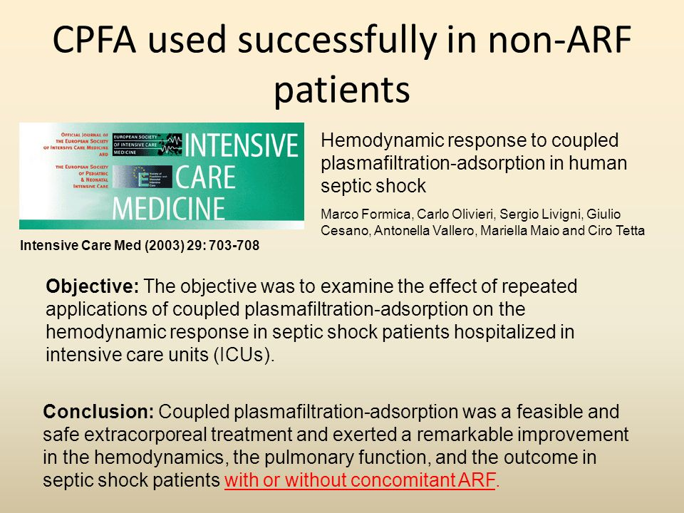 CPFA used successfully in non-ARF patients