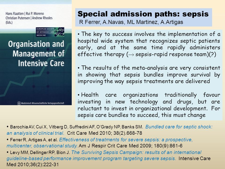 Special admission paths: sepsis
