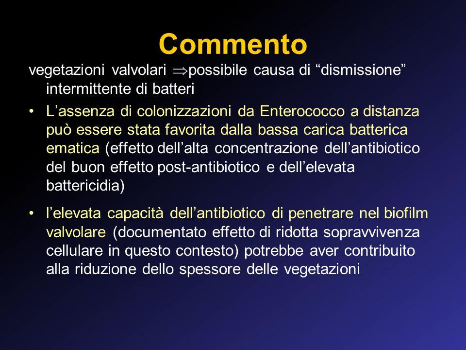 Commento vegetazioni valvolari possibile causa di dismissione intermittente di batteri.