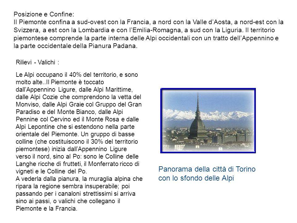 Panorama della città di Torino con lo sfondo delle Alpi