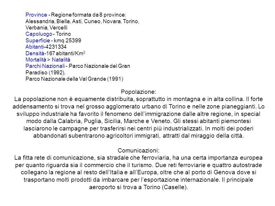 Province - Regione formata da 8 province: Alessandria, Biella, Asti, Cuneo, Novara, Torino, Verbania, Vercelli