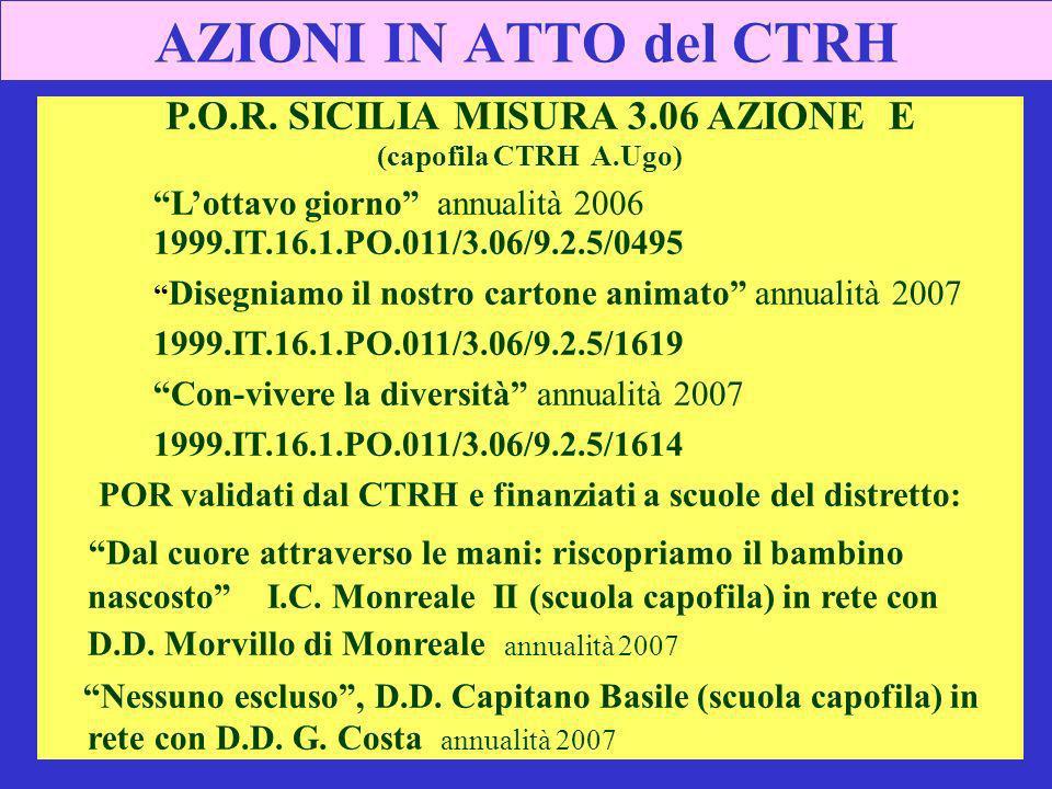 AZIONI IN ATTO del CTRH P.O.R. SICILIA MISURA 3.06 AZIONE E
