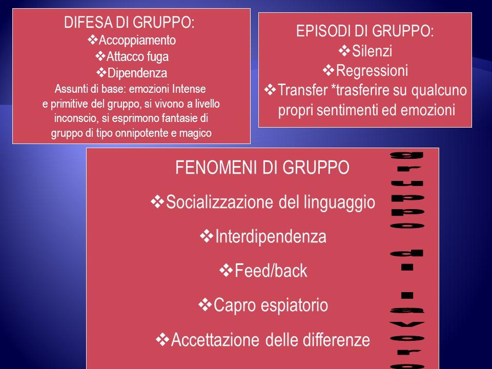 gruppo di lavoro FENOMENI DI GRUPPO Socializzazione del linguaggio