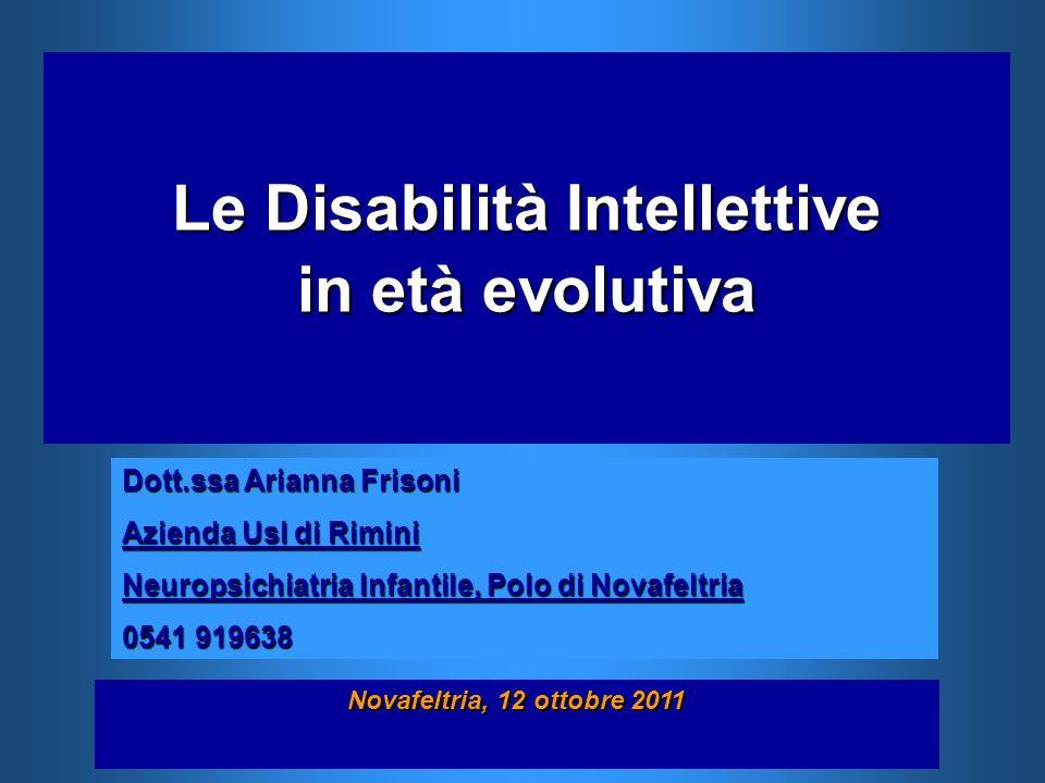 Le Disabilità Intellettive in età evolutiva