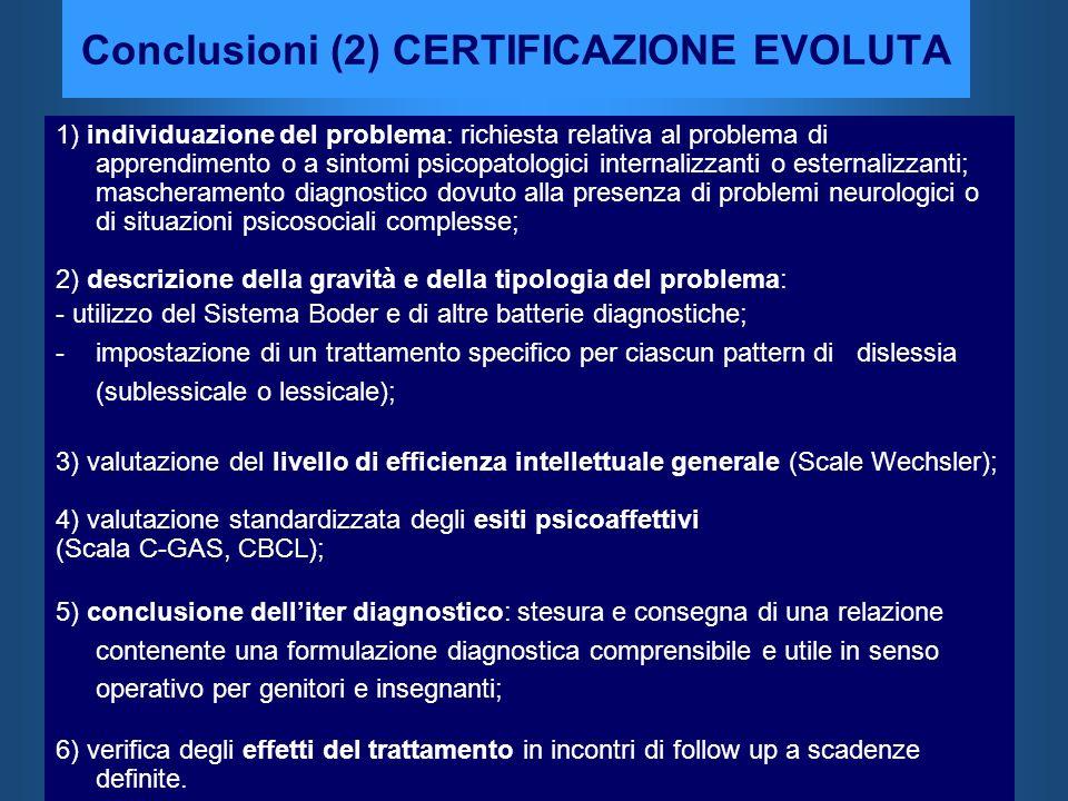 Conclusioni (2) CERTIFICAZIONE EVOLUTA