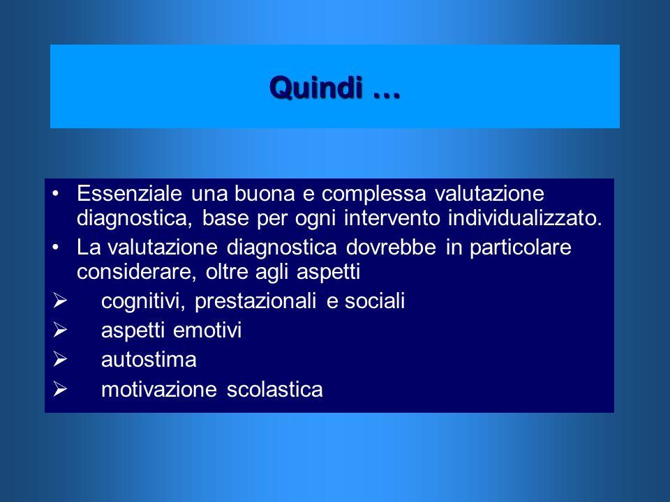 Quindi … Essenziale una buona e complessa valutazione diagnostica, base per ogni intervento individualizzato.