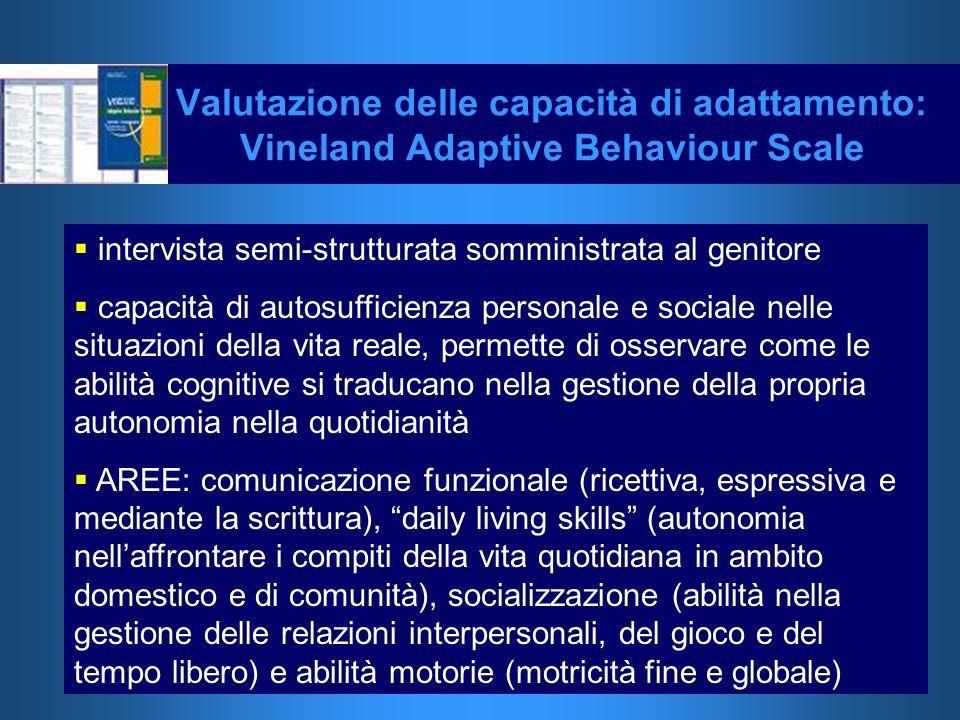 Valutazione delle capacità di adattamento: Vineland Adaptive Behaviour Scale