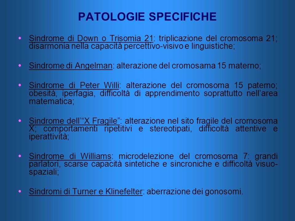 PATOLOGIE SPECIFICHE Sindrome di Down o Trisomia 21: triplicazione del cromosoma 21; disarmonia nella capacità percettivo-visivo e linguistiche;